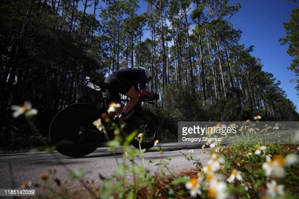 Athletes compete in the bike leg at the Ironman Florida on November 02 2019 in Panama City Florida