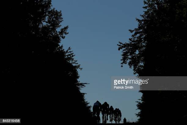 Athletes compete in the bike portion of the IRONMAN 703 Men's World Championship on September 10 2017 in Chattanooga Tennessee