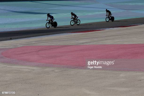 Athletes compete in the bike section of Ironman 703 Middle East Championship Bahrain on November 25 2017 in Bahrain Bahrain