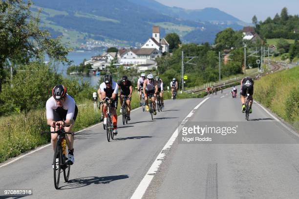 Athletes compete in the bike section of Ironman 703 Switzerland RapperswilJona on June 10 2018 in Jona Switzerland