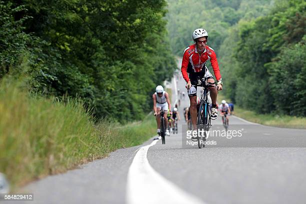 Athletes compete in the bike section of Ironman Maastricht on July 31 2016 in Maastricht Netherlands