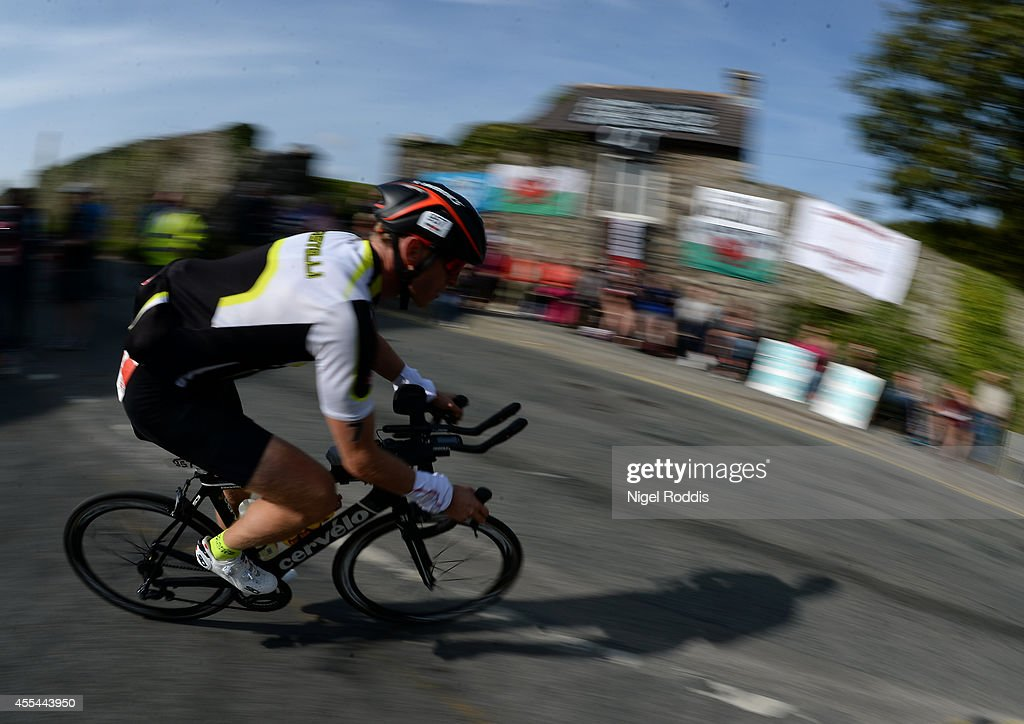 Athletes compete in the bike section of Ironman Wales on September 14, 2014 in Pembroke, Wales.