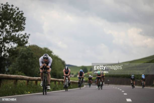 Athletes compete in the bike section of the IRONMAN 703 LuxembourgRegion Moselle race on June 17 2018 in Luxembourg Luxembourg