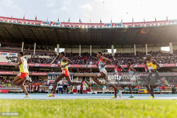 Athletes compete in the boys 3000m during day 5 of the IAAF U18 World Championships at Moi International Sports Centre Kasarani Arena on July 16 2017...