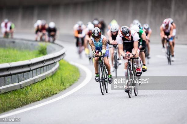 Athletes compete in the cycling at Ironman 703 Zell am SeeKaprun on August 31 2014 in Zell am See Austria