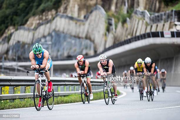 Athletes compete in the cycling during Ironman 703 Zell am SeeKaprun on August 31 2014 in Zell am See Austria