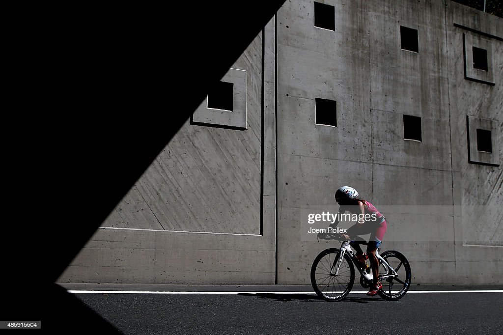 Athletes compete in the cycling during the Ironman 70.3 World Championship Zell am See Kaprun on August 30, 2015 in Zell am See, Austria.