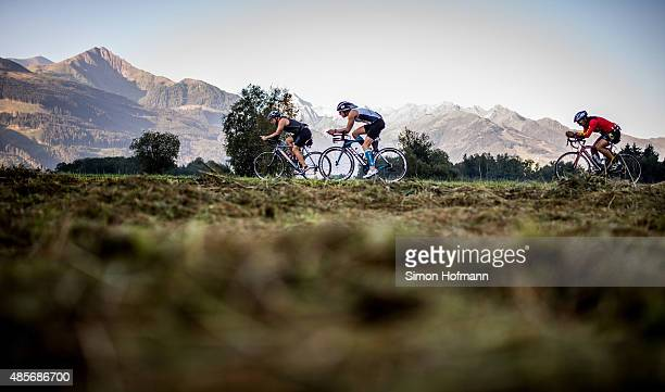 Athletes compete in the cycling during the Ironman 703 Zell am See Kaprun on August 29 2015 in Zell am See Austria