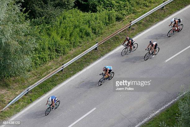 Athletes compete in the cycling leg of Ironman Austria at Worthersee Lake on June 29 2014 in Klagenfurt Austria