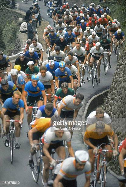 Athletes compete in the Cycling Road Individual Road Race at Hachioji Road Race Course during Tokyo Olympic on October 22 1964 in Hachioji Tokyo Japan