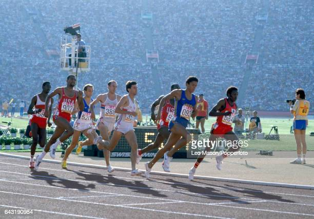 Athletes compete in the final of the Men's 800 metres event from left Billy Konchellah of Kenya Johnny Gray of United States Donato Sabia of Italy...