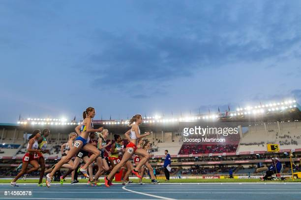 Athletes compete in the girls 2000m steeplechase during day 3 of the IAAF U18 World Championships at Moi International Sports Centre Kasarani Arena...