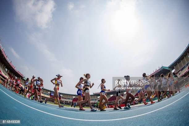 Athletes compete in the girls 5000m race walk during day 4 of the IAAF U18 World Championships at Moi International Sports Centre Kasarani Arena on...
