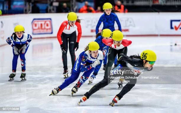 Athletes compete in the Ladies 3000m Relay Final A during the World Junior Short Track Speed Skating Championships Day 2 at Arena Lodowa on March 4...