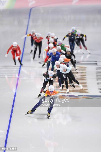 Athletes compete in the ladies mass start during the ISU World Single Distances Speed Skating Championships Gangneung Test Event For Pyeongchang 2018...