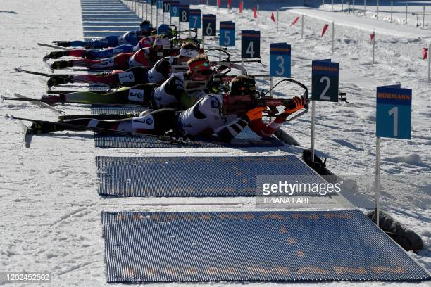 Athletes compete in the Men 4x7.5 km Relay Competition at the IBU Biathlon World Cup in Rasen-Antholz , Italian Alps, on February 22, 2020.