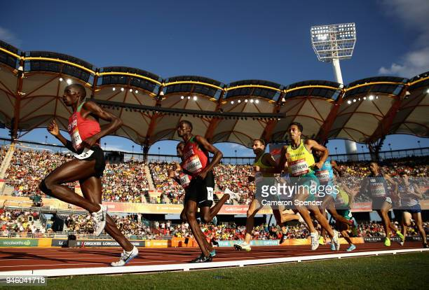 Athletes compete in the Men's 1500 metres final during athletics on day 10 of the Gold Coast 2018 Commonwealth Games at Carrara Stadium on April 14...