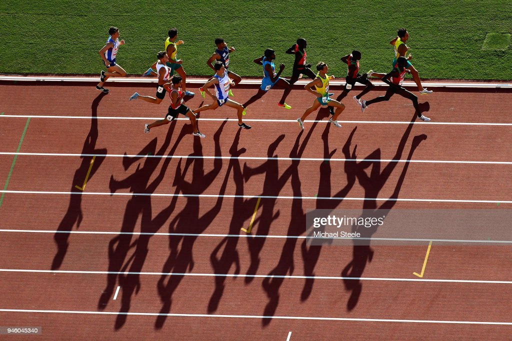 Athletes compete in the Men's 1500 metres final during athletics on day 10 of the Gold Coast 2018 Commonwealth Games at Carrara Stadium on April 14, 2018 on the Gold Coast, Australia.