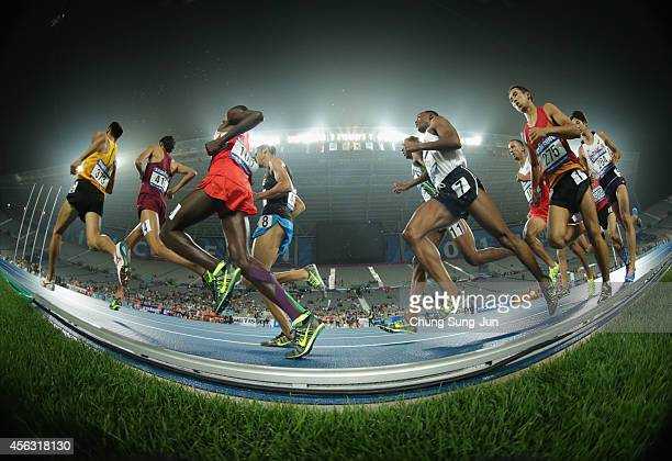 Athletes compete in the Men's 1500m Final during day ten of the 2014 Asian Games at Incheon Asiad Main Stadium on September 29, 2014 in Incheon,...