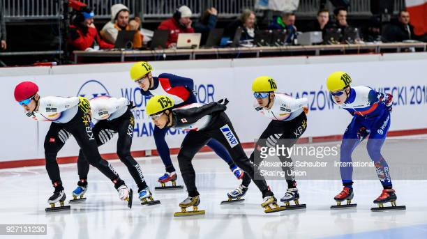 Athletes compete in the Mens 1500m Superfinal during the World Junior Short Track Speed Skating Championships Day 2 at Arena Lodowa on March 4 2018...