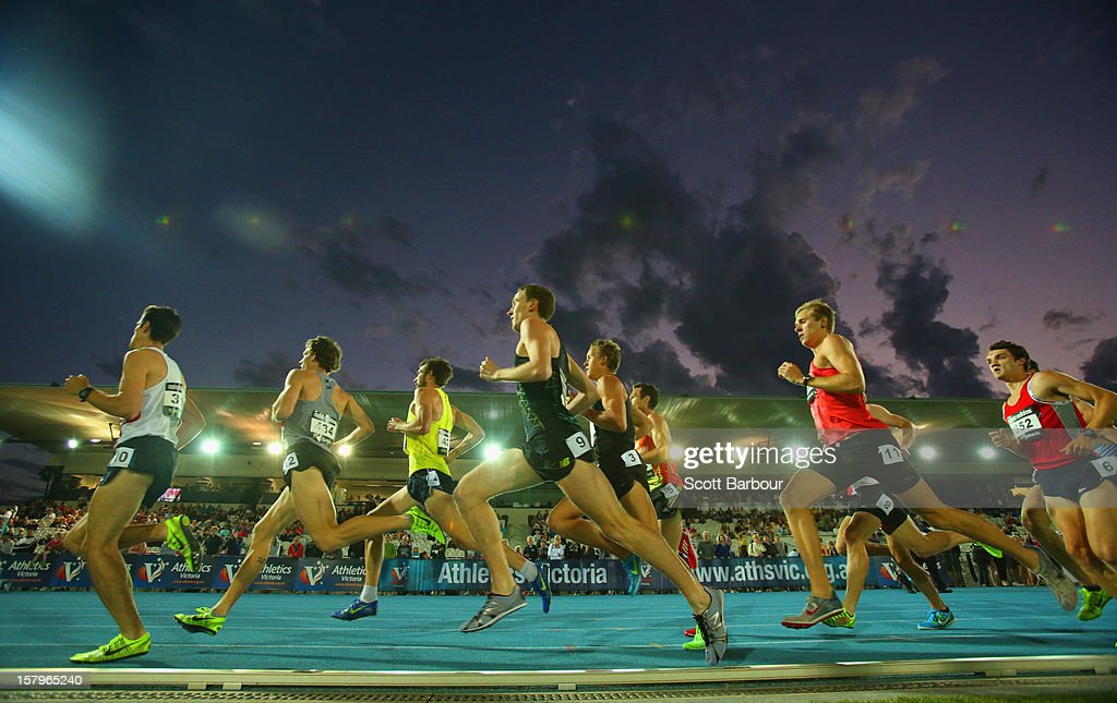 Athletes compete in the Mens 1600 Meters Open during the Zatopek Classic at Lakeside Stadium on December 8, 2012 in Melbourne, Australia.