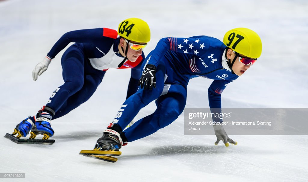 Athletes compete in the Mens 3000m Relay Final B during the World Junior Short Track Speed Skating Championships Day 2 at Arena Lodowa on March 4, 2018 in Tomaszow Mazowiecki, Poland.