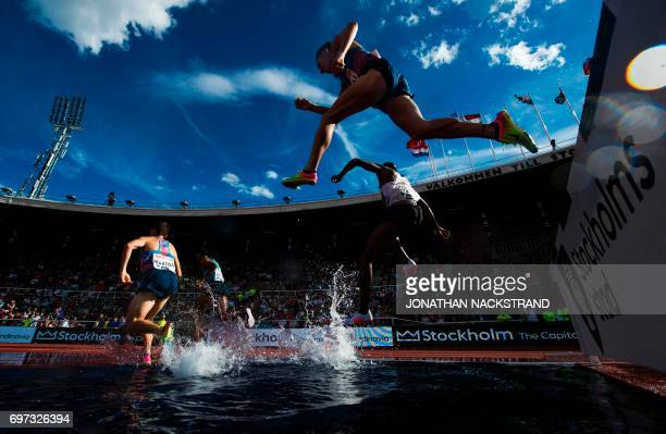 TOPSHOT Athletes compete in the men's 3000m Steeplechase event during the IAAF Diamond League athletics competition in Stockholm Sweden on June 18...