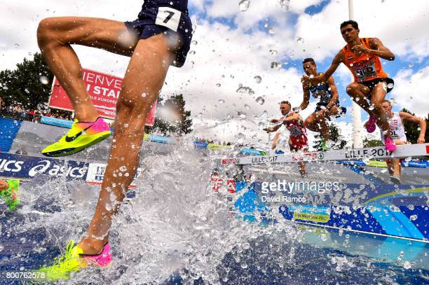 Athletes compete in the Men's 3000m Steeplechase Final during day three of the European Athletics Team Championships at the Lille Metropole Stadium...