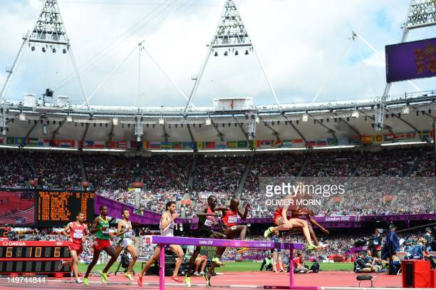 Athletes compete in the men's 3000m steeplechase heats at the athletics event during the London 2012 Olympic Games on August 3 2012 in London AFP...