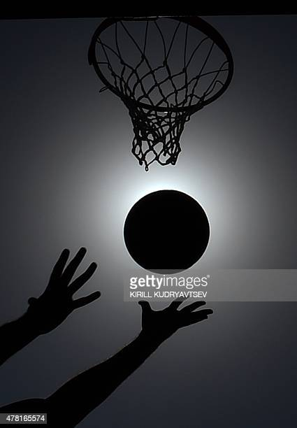 Athletes compete in the men's 3x3 basketball match Turkey vs Spain at the 2015 European Games in Baku on June 23 2015 AFP PHOTO / KIRILL KUDRYAVTSEV