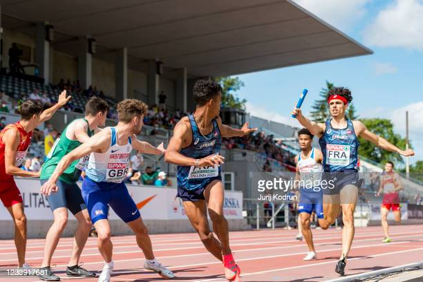 Athletes compete in the men's 4 x 400m relay on day four of the 2021 European Athletics U23 Championships at Kadriorg Stadium on July 11, 2021 in...