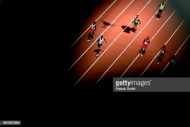 Athletes compete in the Men's 400 metres heats during day two of the 15th IAAF World Athletics Championships Beijing 2015 at Beijing National Stadium...