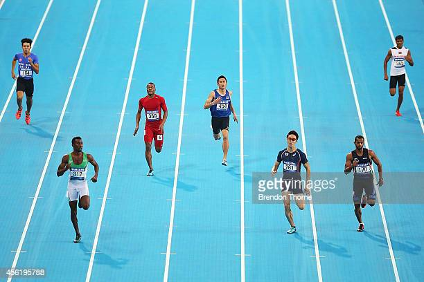 Athletes compete in the Men's 400m Heats during day eight of the 2014 Asian Games at Incheon Asiad Main Stadium on September 27 2014 in Incheon South...