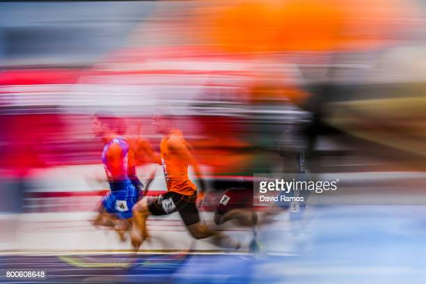 Athletes compete in the Men's 4x100m relay heat 1 during day two of the European Athletics Team Championships at the Lille Metropole stadium on June...
