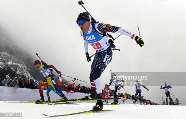 Athletes compete in the men's 4x75km relay event of the IBU Biathlon World Cup in Ruhpolding southern Germany on January 18 2020