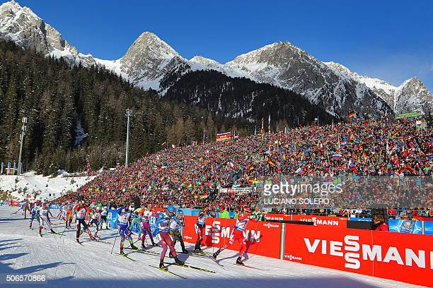 Athletes compete in the Men's 4x75km Relay of the IBU Biathlon World Cup in AntholzAnterselva Italy on January 24 2016 AFP PHOTO / LUCIANO SOLERO /...
