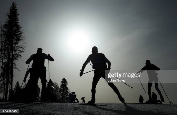 Athletes compete in the Men's 50 km Mass Start Free during day 16 of the Sochi 2014 Winter Olympics at Laura Crosscountry Ski Biathlon Center on...