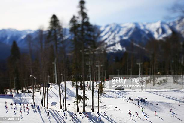 Athletes compete in the Men's 50 km Mass Start Free during day 16 of the Sochi 2014 Winter Olympics at Laura Cross-country Ski & Biathlon Center on...