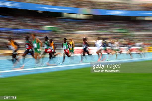 Athletes compete in the men's 5000 metres heats during day six of the 13th IAAF World Athletics Championships at the Daegu Stadium on September 1...