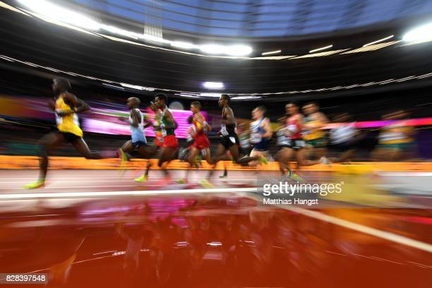 Athletes compete in the Men's 5000 Metres heats during day six of the 16th IAAF World Athletics Championships London 2017 at The London Stadium on...