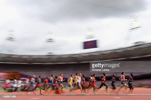 Athletes compete in the Men's 5000m Round 1 Heats on Day 12 of the London 2012 Olympic Games at Olympic Stadium on August 8 2012 in London England