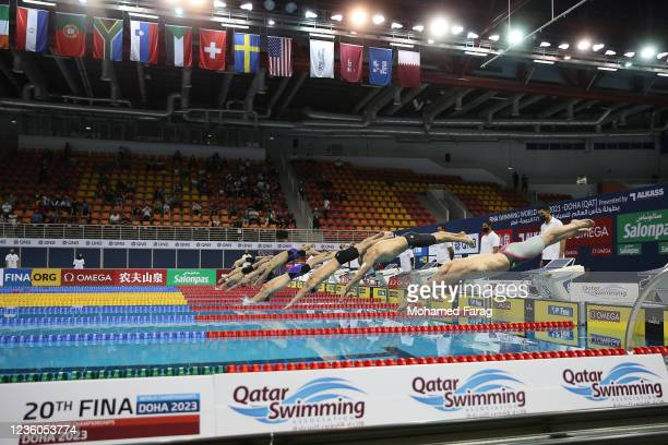 Athletes compete in the Men's 50m Individual Breaststroke during day Two of the FINA Swimming World Cup Doha at Hamad Aquatic Centre on October 22,...