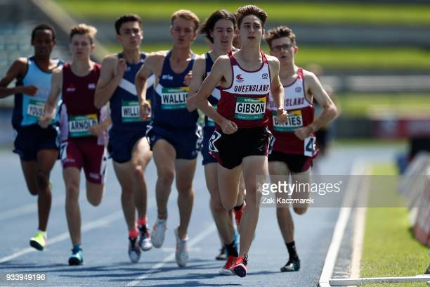 Athletes compete in the Men's 800 metre Under 20 Preliminary Final during day four of the Australian Junior Athletics Championships at the Sydney...