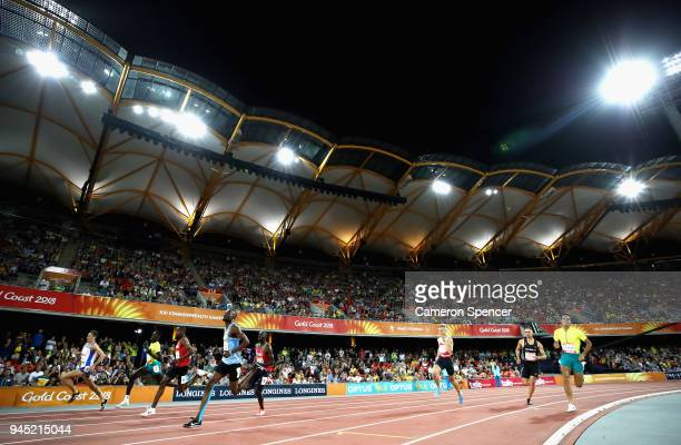 Athletes compete in the Men's 800 metres final during athletics on day eight of the Gold Coast 2018 Commonwealth Games at Carrara Stadium on April 12...