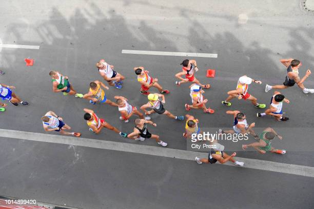 Athletes compete in the Men's and Women's 20km Race Walk during day five of the 24th European Athletics Championships on August 11 2018 in Berlin...