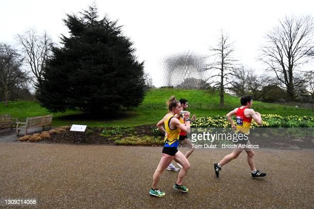 Athletes compete in the mens and womens 20km walking races during the Muller British Athletics Marathon and 20km Walk Trials at Kew Gardens on March...