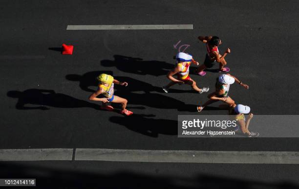 Athletes compete in the Men's and Women's 50km Race Walk final during day one of the 24th European Athletics Championships on August 7 2018 in Berlin...