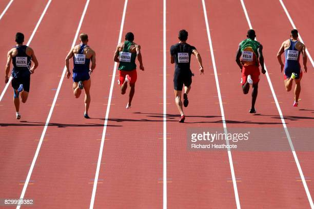 Athletes compete in the Men's Decathlon 100 metres during day eight of the 16th IAAF World Athletics Championships London 2017 at The London Stadium...