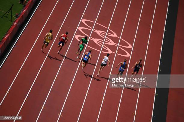 Athletes compete in the Men's Decathlon 100m heats start on day twelve of the Tokyo 2020 Olympic Games at Olympic Stadium on August 04, 2021 in...