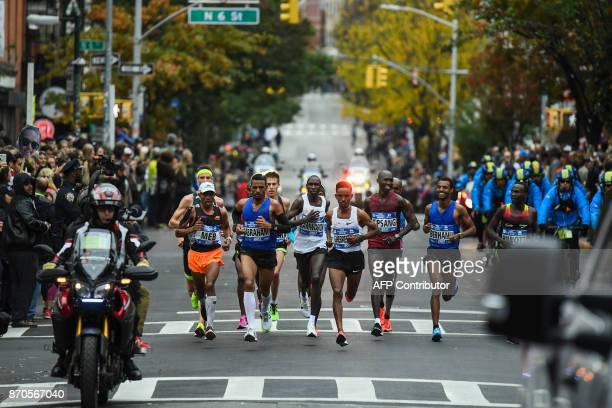 Athletes compete in the Men's Division during the 2017 TCS New York City Marathon in New York on November 5 2017 Five days after the worst attack on...